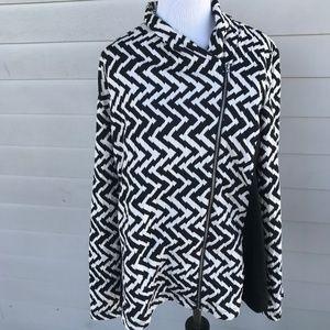 Chico's Zebra Print Asymmetrical Zipper Jacket